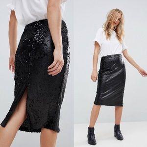 MINKPINK Sequin Black Pencil Skirt Size M